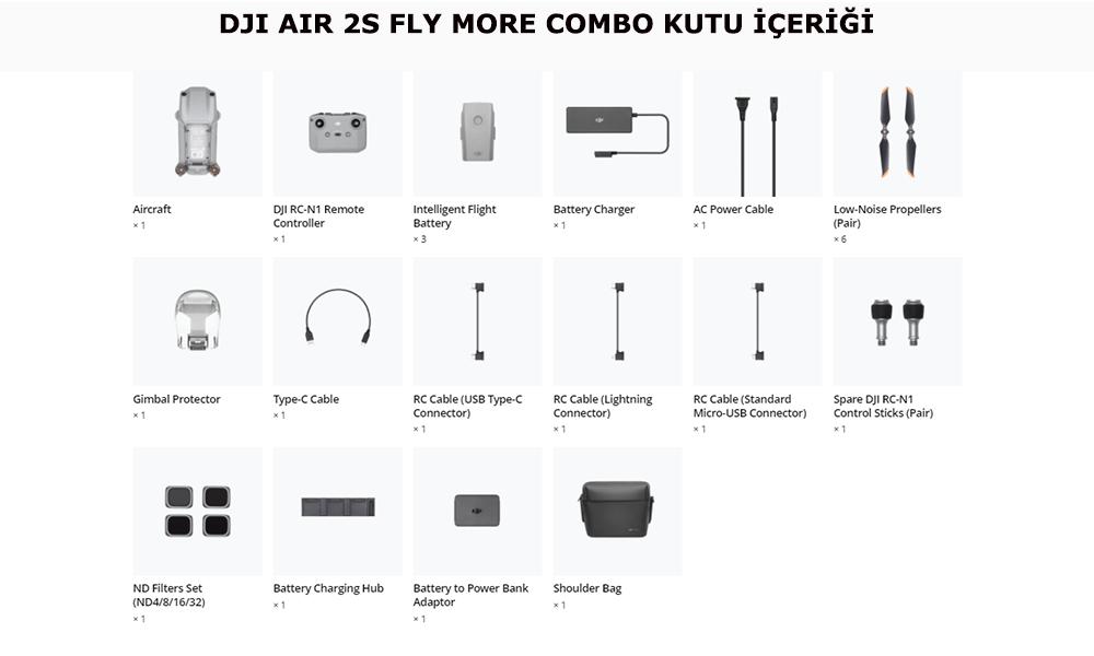 DJI Air 2S Fly More Combo Kutu İçeriği